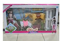 Детская Лошадь MZT8984, 2 в наборе,с куклой, забор,расческа,поилка,сено, вилы,лопата