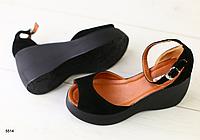 Босоножки замшевые черные на платформе, фото 1