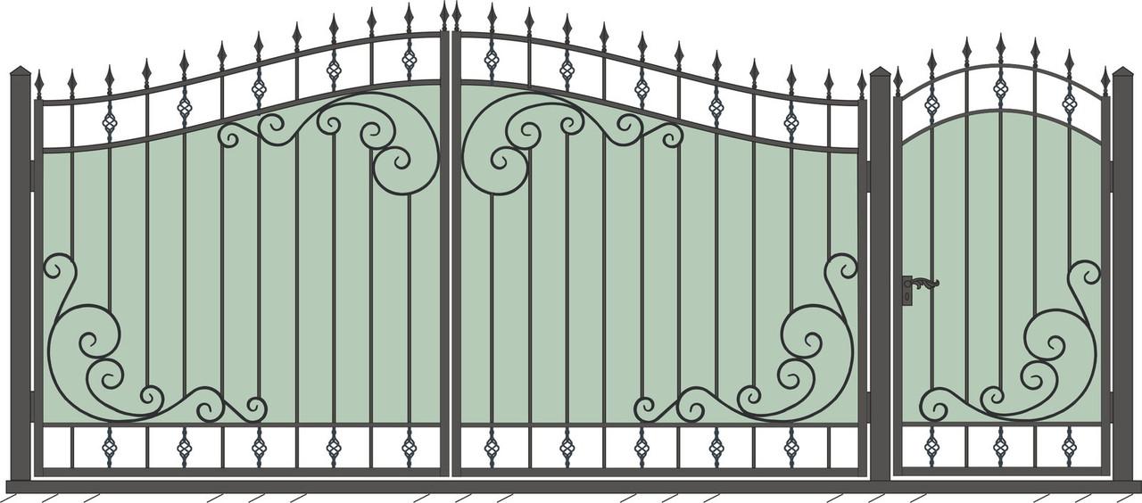 Кованые ворота и калитка  ВД-08