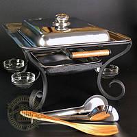 """Блюдо для шашлыка """"Компания"""", кованый садж с крышкой и комплектом (ковка)"""