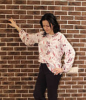 Красочная блуза для женщины к лету, длинный рукав50-54 р-ры, 310/260 (цена за 1 шт.+ 50 гр)