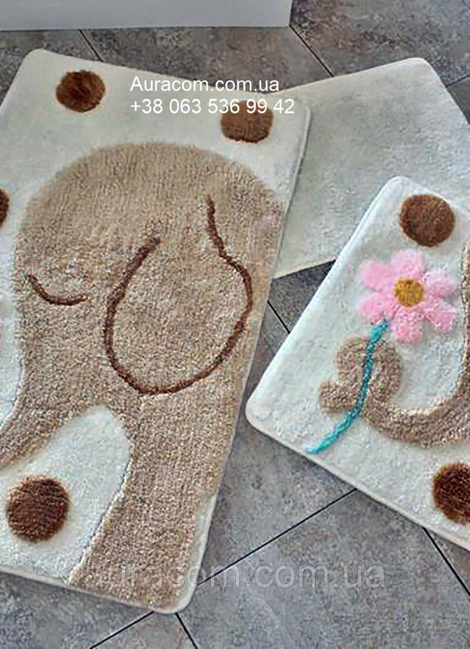 Набор ковриков в ванную комнату , три штуки, слоник