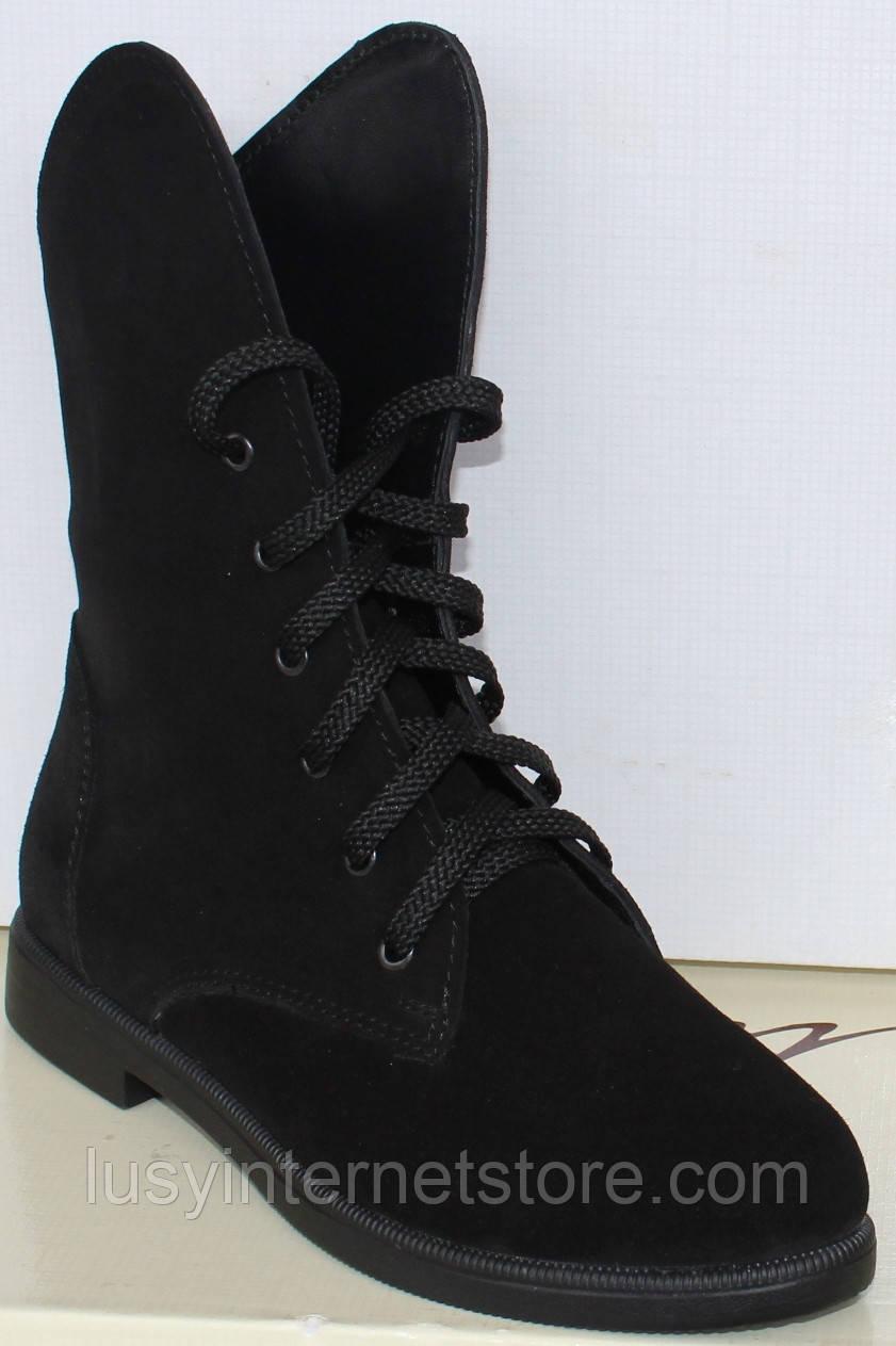Ботинки черные замшевые женские на низком каблуке от производителя модель МВ09замша