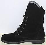 Ботинки черные замшевые женские на низком каблуке от производителя модель МВ09замша, фото 3