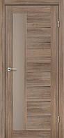 Межкомнатная дверь Lorenza Серое дерево стекло сатин бронза