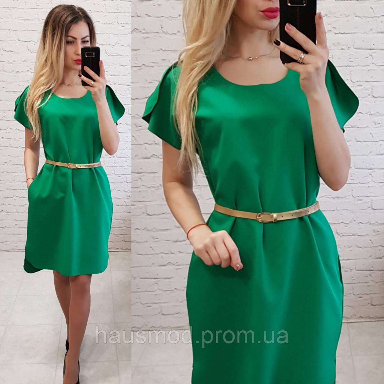 Женское платье карман пояс в комплекте цвет зеленый
