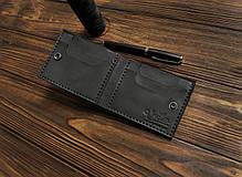 Мужской кожаный бумажник ручной работы VOILE vl-mw4-blk, фото 2