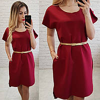 Женское платье карман пояс в комплекте цвет бордовый, фото 1