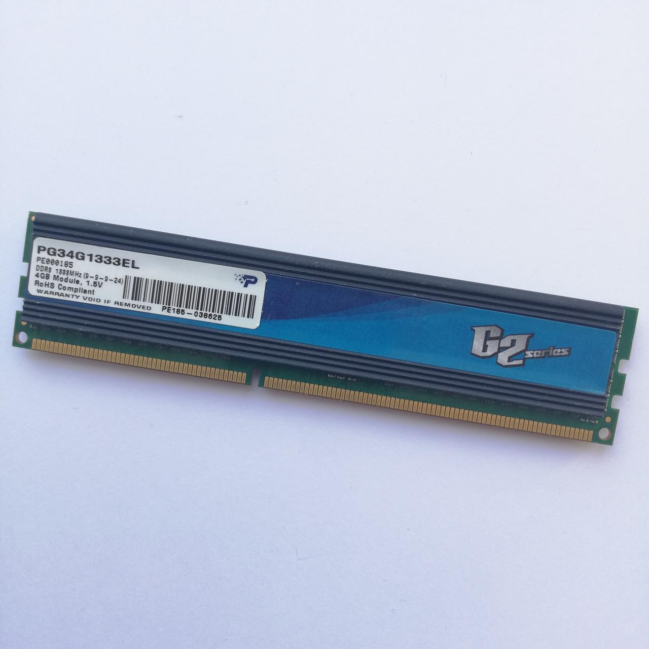 Игровая оперативная память Patriot DDR3 4Gb 1333MHz PC3-10600U CL9 (PG34G1333EL) Б/У