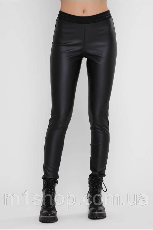 Женские черные матовые лосины из экокожи (Leather belt art)