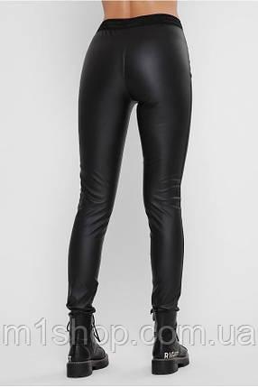 Женские черные матовые лосины из экокожи (Leather belt art), фото 2