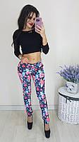 """Женские брюки """" Цветы """" SK House, фото 1"""