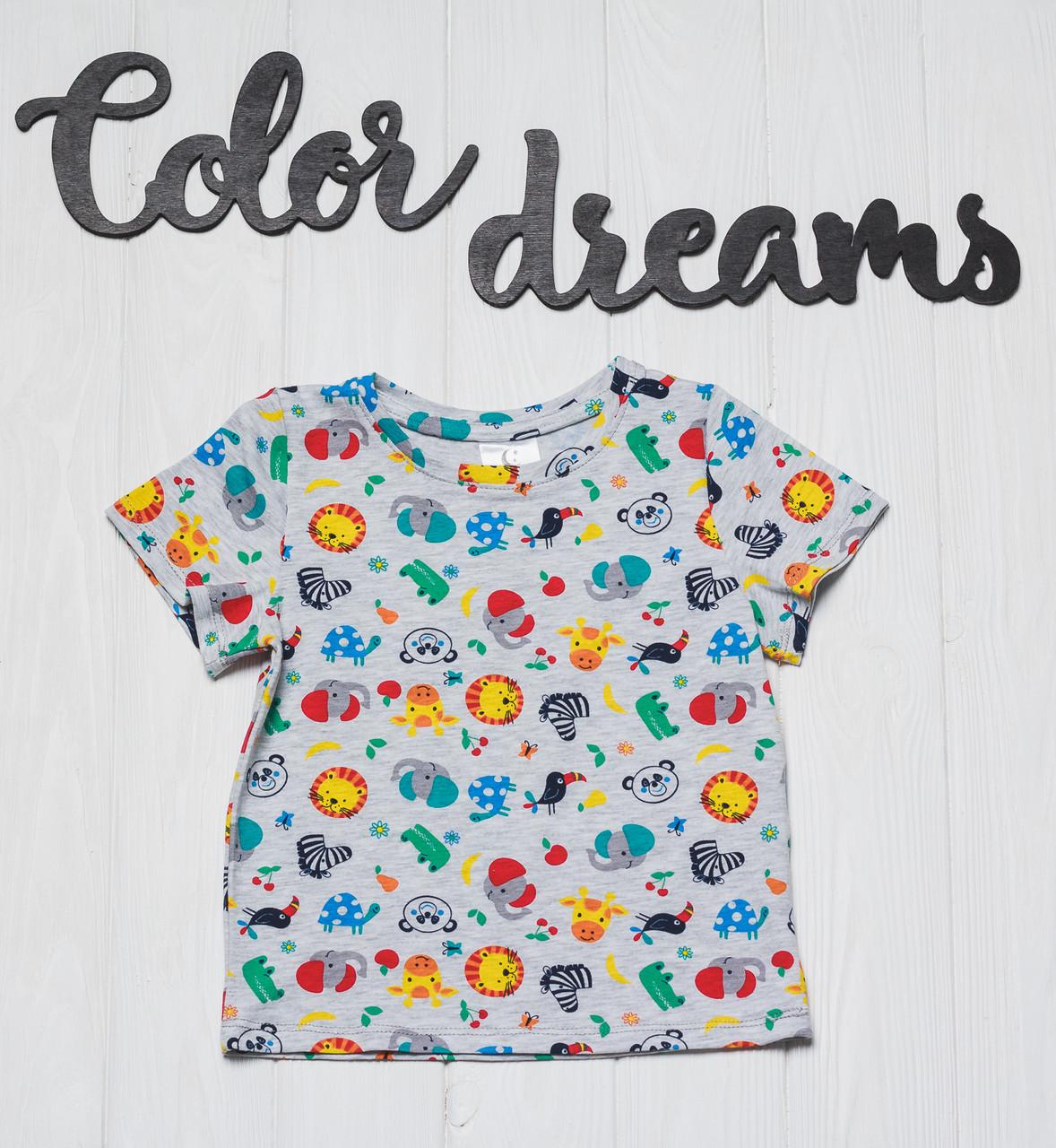Детская футболка прямая  с принтом с животными