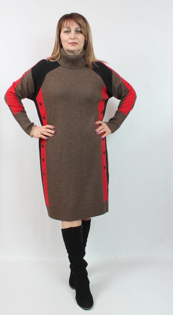 Турецкое вязаное женское платье, размеры 52-62