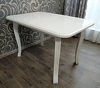 """Стол обеденный кухонный """"Прованс"""" - 110 см, белый и слоновая кость"""