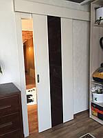 Ламинированная дверь пленкой софттач + крашенное стекло