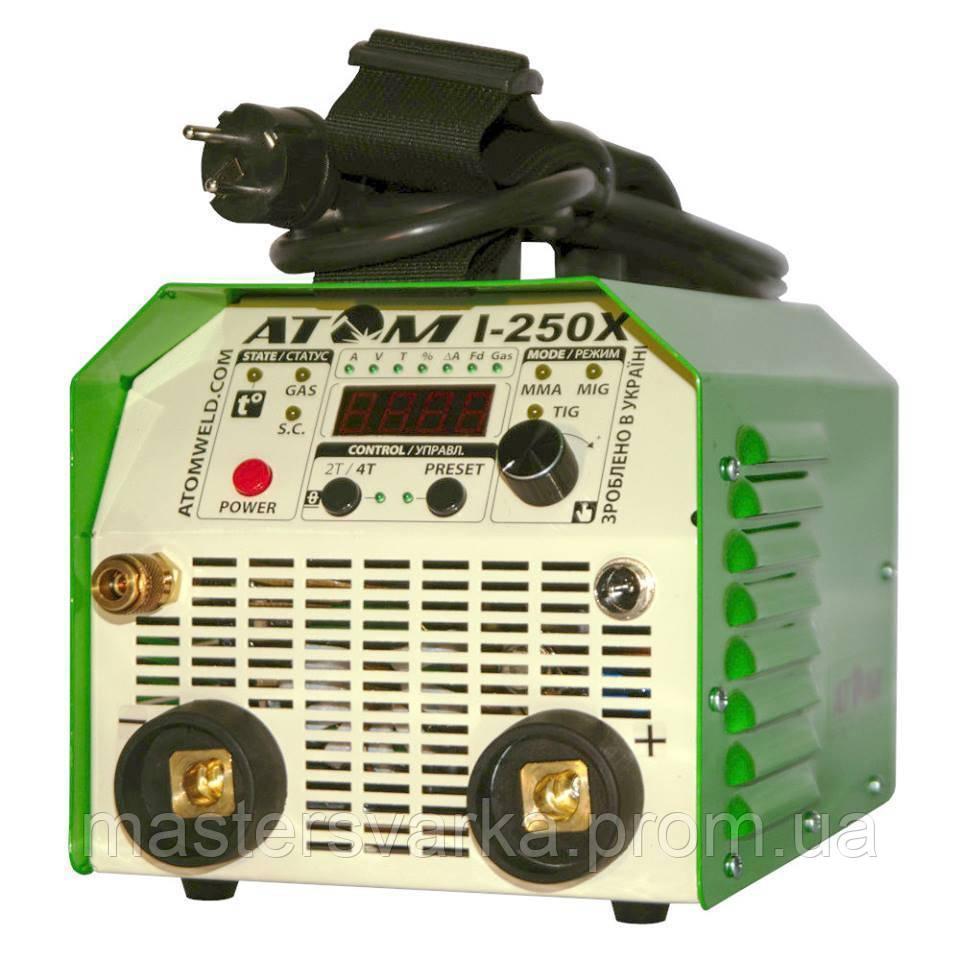 Сварочный аргонодуговой инвертор Атом I-250X ( с комплектом кабелей КГ-25 2+3 м и зажимами Binzel )