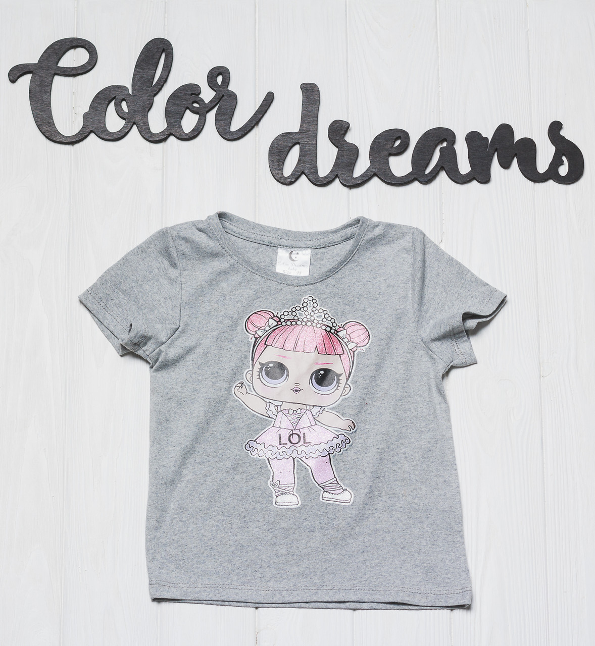 Детская футболка  на девочку с куколкой LOL Серая