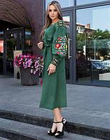 """Сукня зелена лляна вишита """"Борщівські барви"""" розміри в наявності 54, фото 1"""