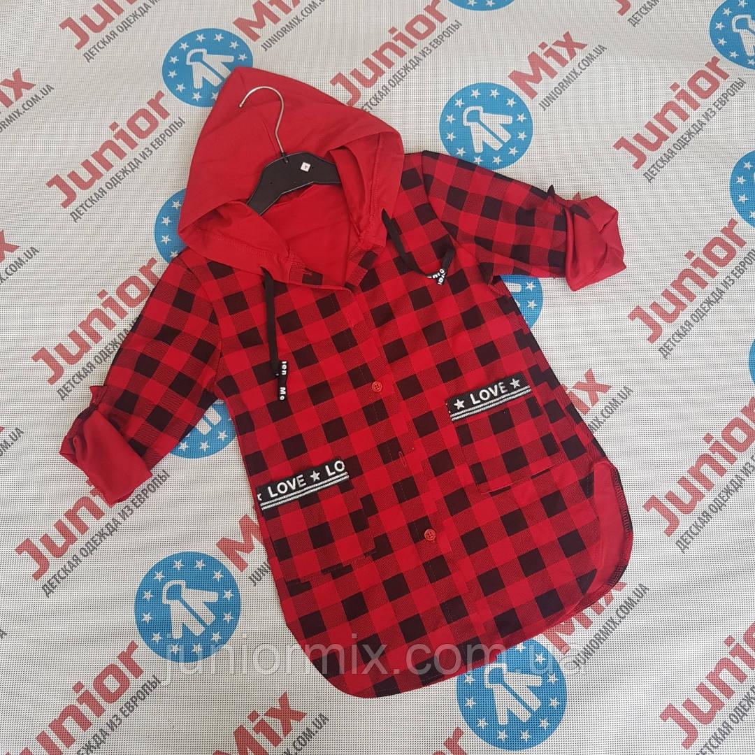 Детская удленёная  рубашка с капюшоном для девочек в клеточку оптом