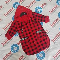 Детская удленёная  рубашка с капюшоном для девочек в клеточку оптом, фото 1