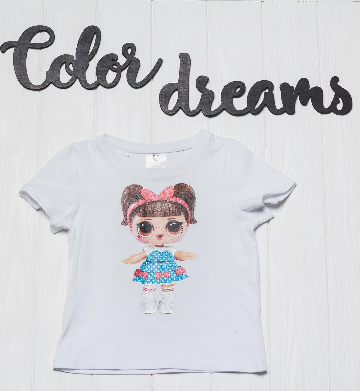 Детская футболка на девочку с куколкой LOL Белая