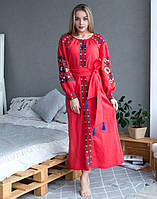 """Сукня червона лляна вишита """"Борщівські барви"""" розміри в наявності"""