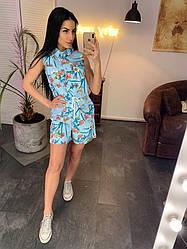 Женский летний комбинезон с шортами Голубой