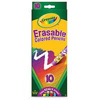 Карандаши цветные с резинкой для вытирания, 10 цветов, Crayola крайола