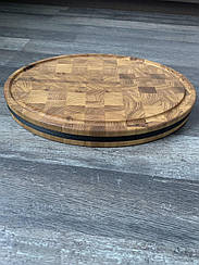 Деревянная Доска торцевая овальная 400*300*50мм дуб