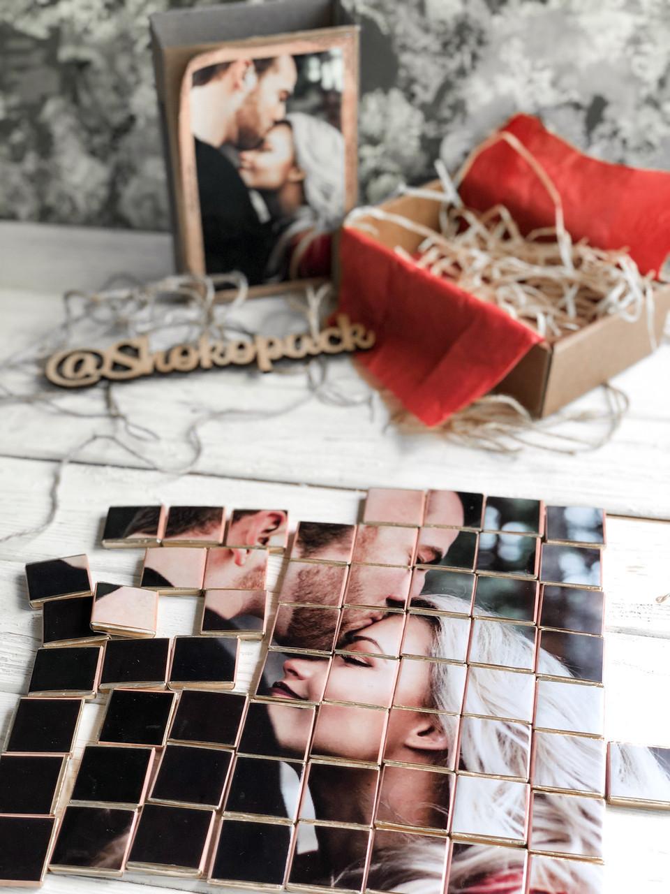 Черный шоколадный набор с фото «Крафт Пазл 63 шк»