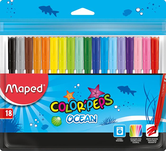 Фломастери COLOR PEPS Ocean, 18 кольорів
