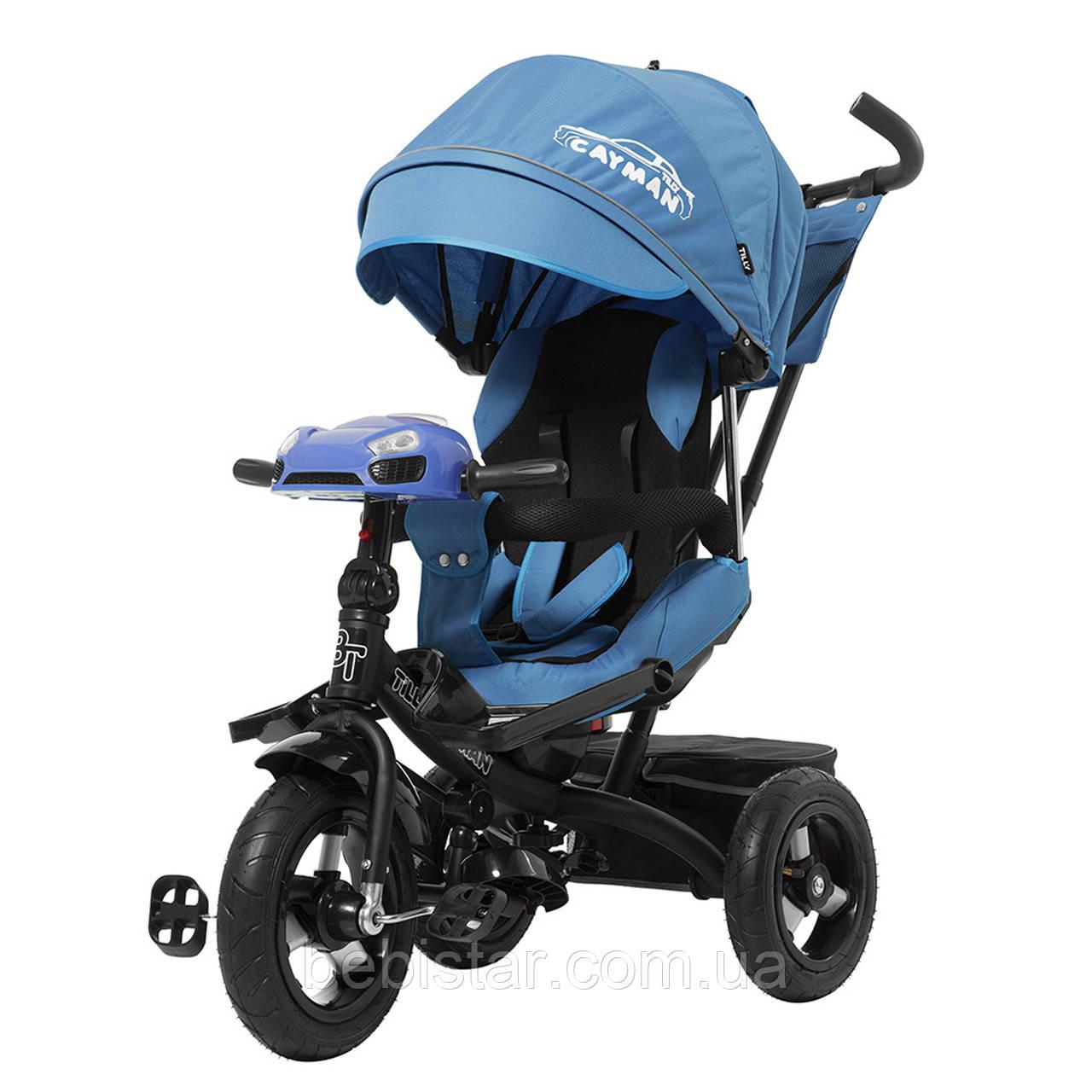 Трехколесный велосипед синий TILLY CAYMAN с усилен рамой пультом надувн колеса поворот сидение музыка свет
