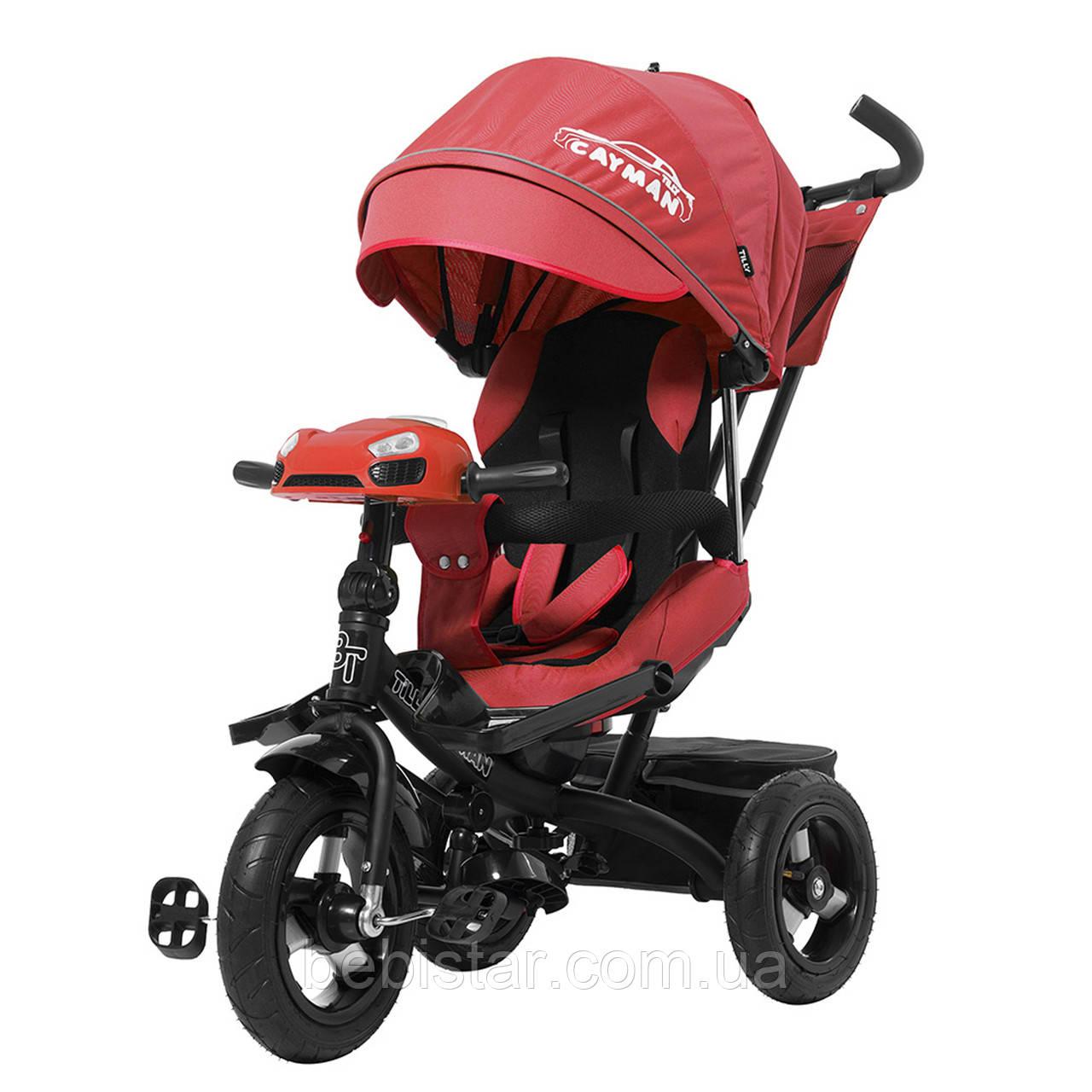 Триколісний велосипед червоний TILLY CAYMAN з посиленою рамою надувні колеса поворотні сидіння музика і світло