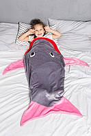 Плед-мешок Акула детский серый