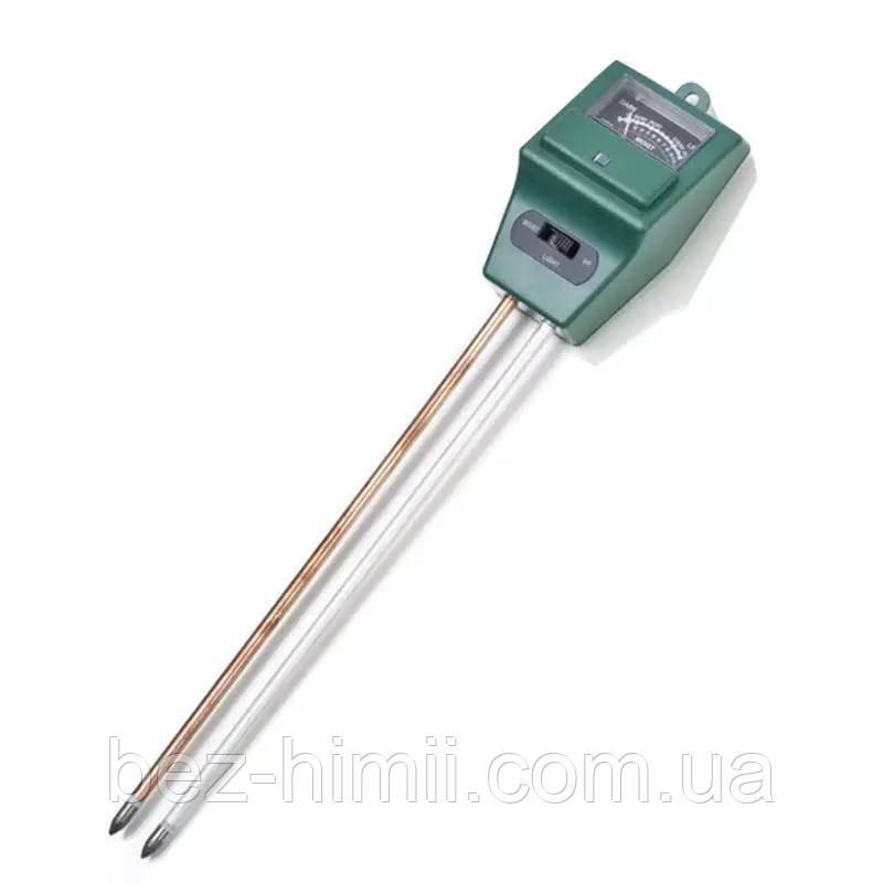 Анализатор почвы для определения кислотности pH, влажности и освещенности.
