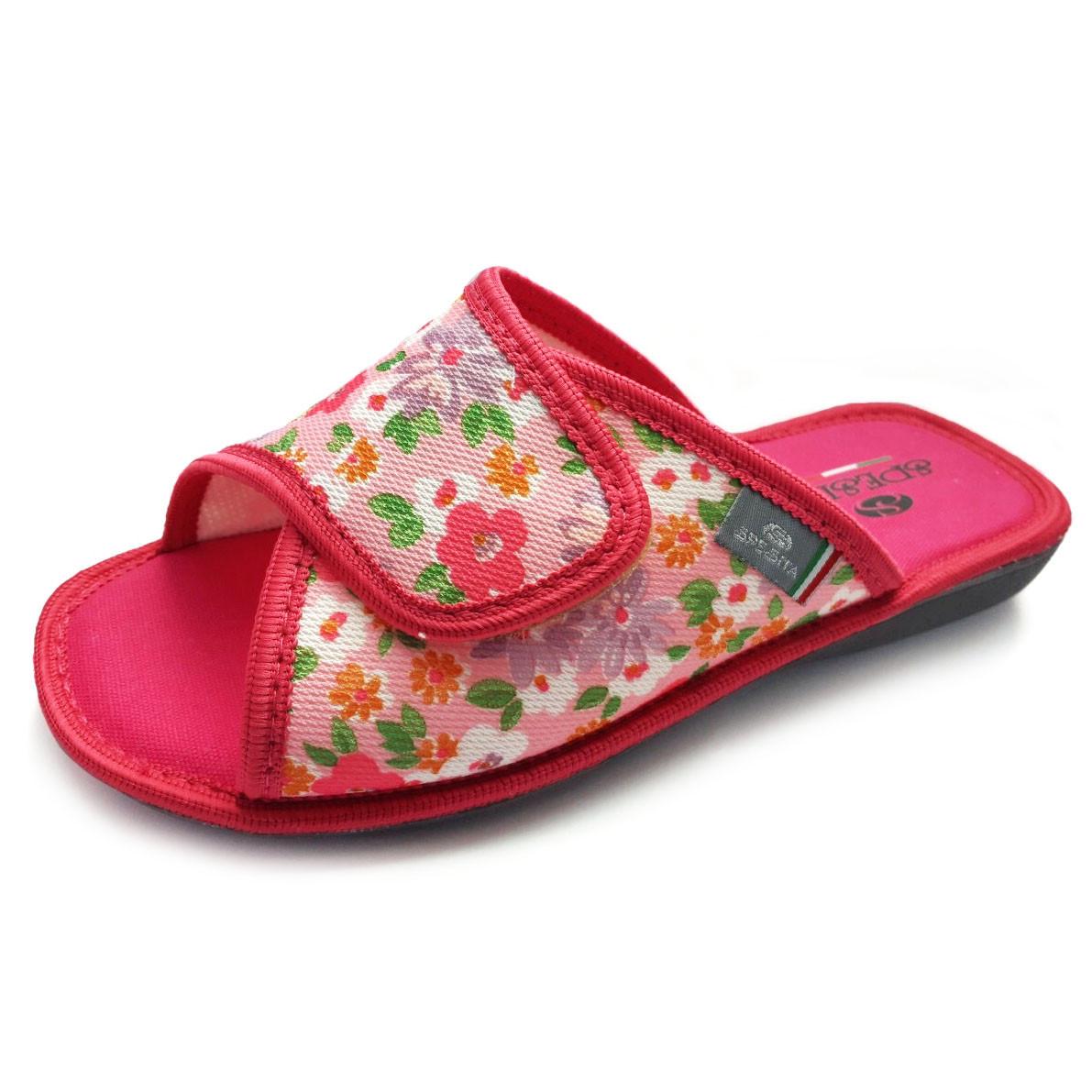 330d8804afdf3 Женские тапочки с открытым носком, регулируемый верх на липучке, малинового  цвета фуксия, размеры 36-41