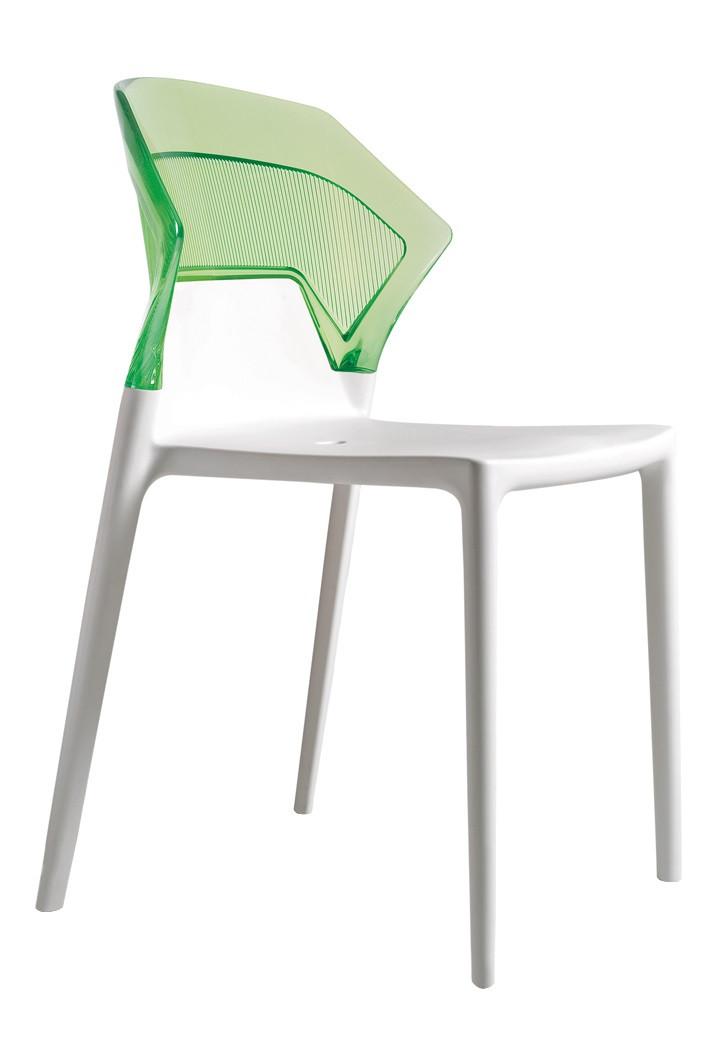 Стул Papatya Ego-S белое сиденье, верх прозрачно-зеленый