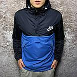 Анорак мужской черный с голубым мужская куртка. Живое фото, фото 2
