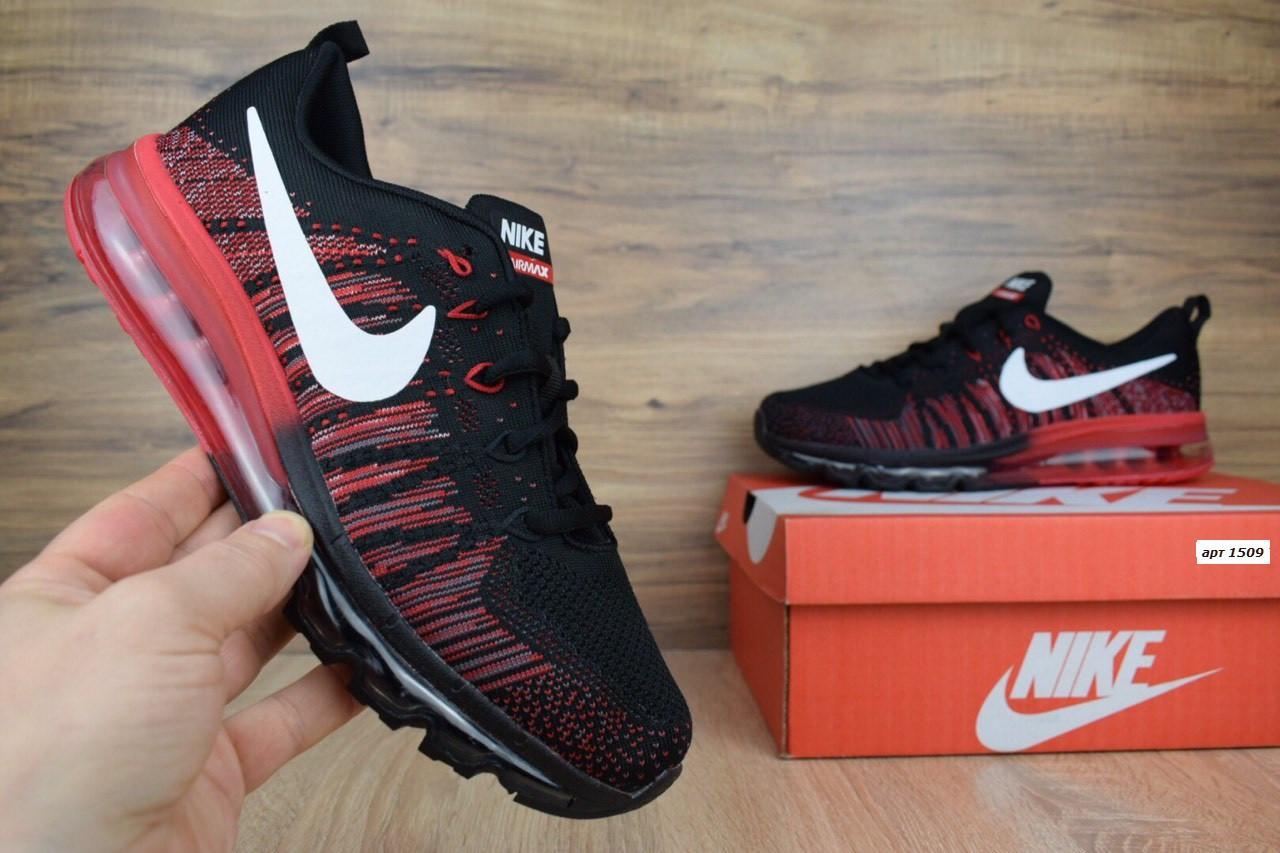 b6da083a Мужские кроссовки Nike Air Max черные с красным сетка. Код товара: ОД - 1509