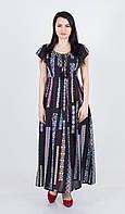 Легка літня довга чорна батистова сукня з етнічним принтом і вишивкою навколо декольте №171-2
