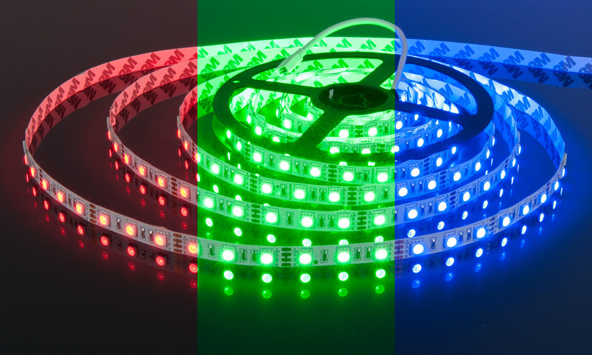 Светодиодная лента LED 5050 - 12W Blue, Green, Red, White   лед лента синяя, зеленая, красная, белая
