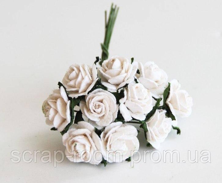 Роза мини белая диаметр 1,5 см, роза белая, бумажная роза белая 1,5 см, цена указана за 1 шт