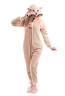 Домашний женский комбинезон - пижама из мягкой махровой ткани