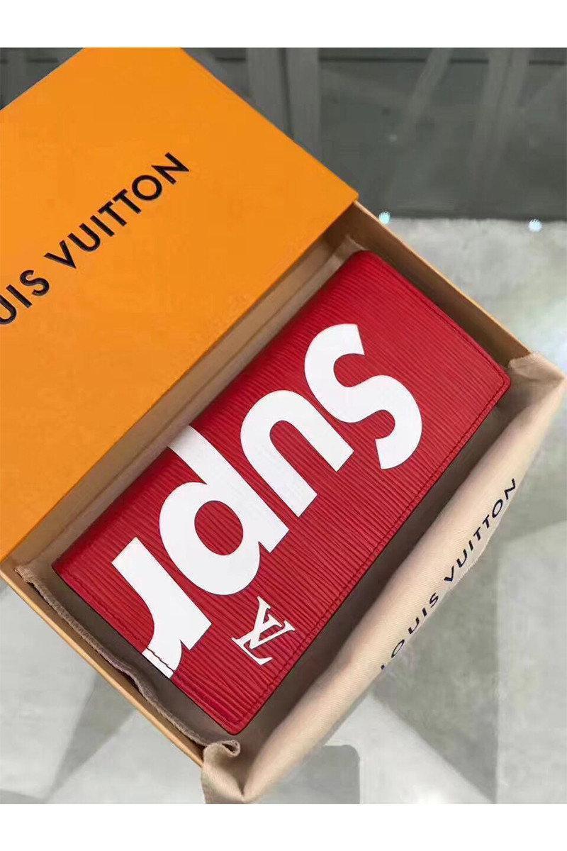 Клатч портмоне LouiS Vuitton Supreme на кнопке унисекс красный