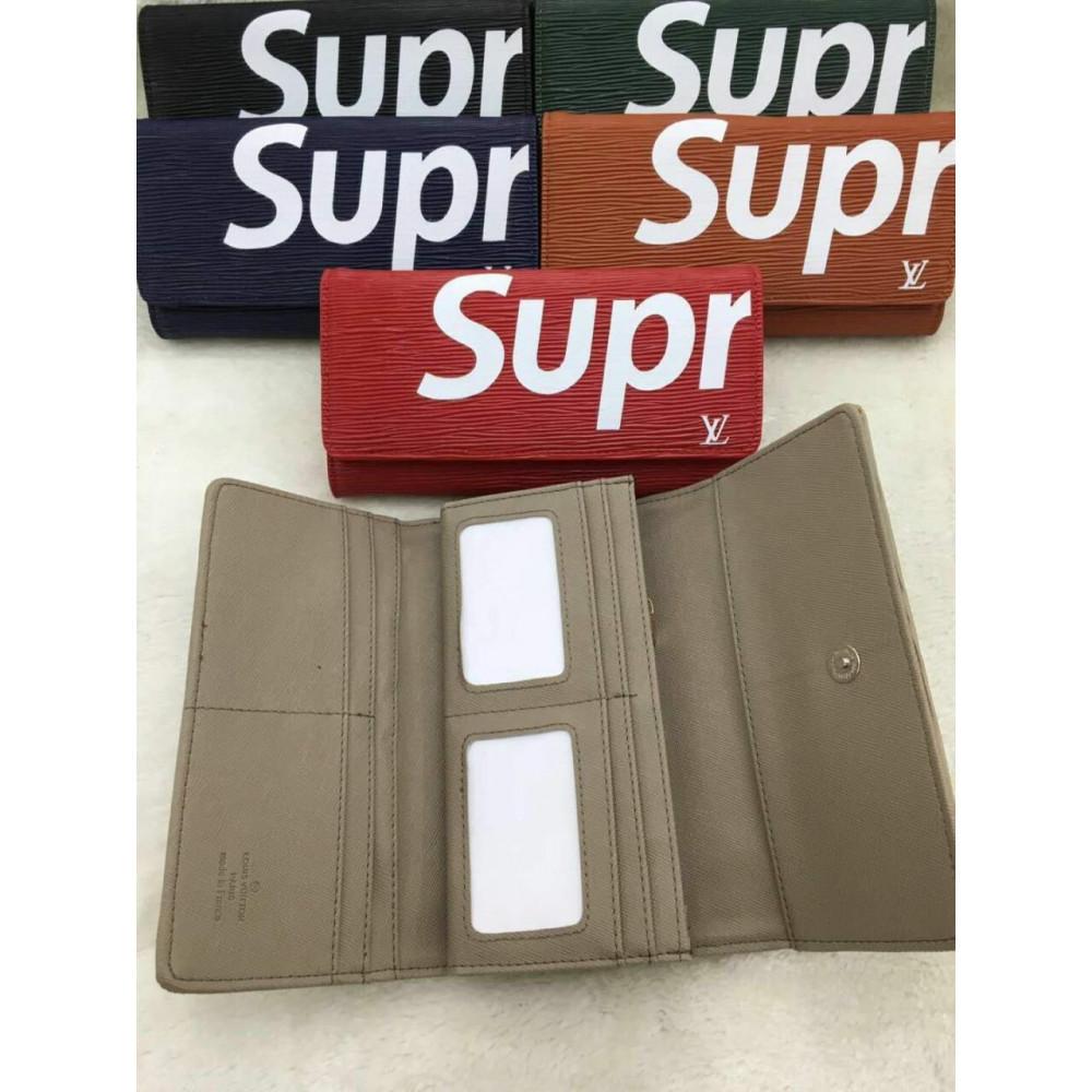 Клатч портмоне LouiS Vuitton Supreme на кнопке унисекс  (зеленый, красный, синий, черный)