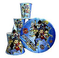 """Набор детской одноразовой посуды """" Бейблэйд ( Beyblade ) Бейблейд """" 10 тарелок,10 стаканов,10 колпачков"""