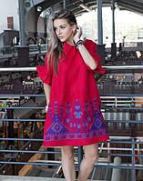 Сукня червона лляна вишита розміри в наявності