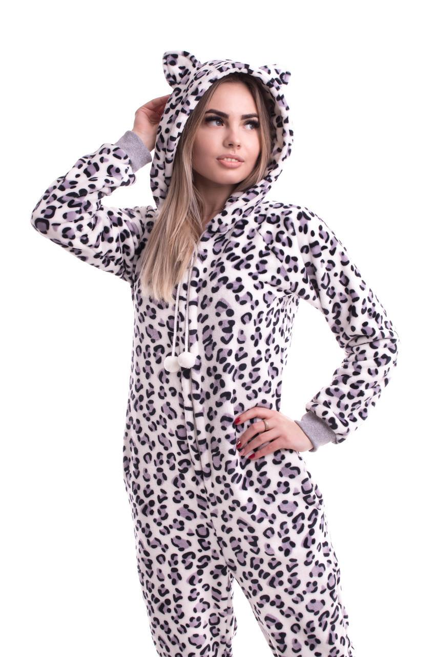 Махровый комбинезон пижама для дома с ушками