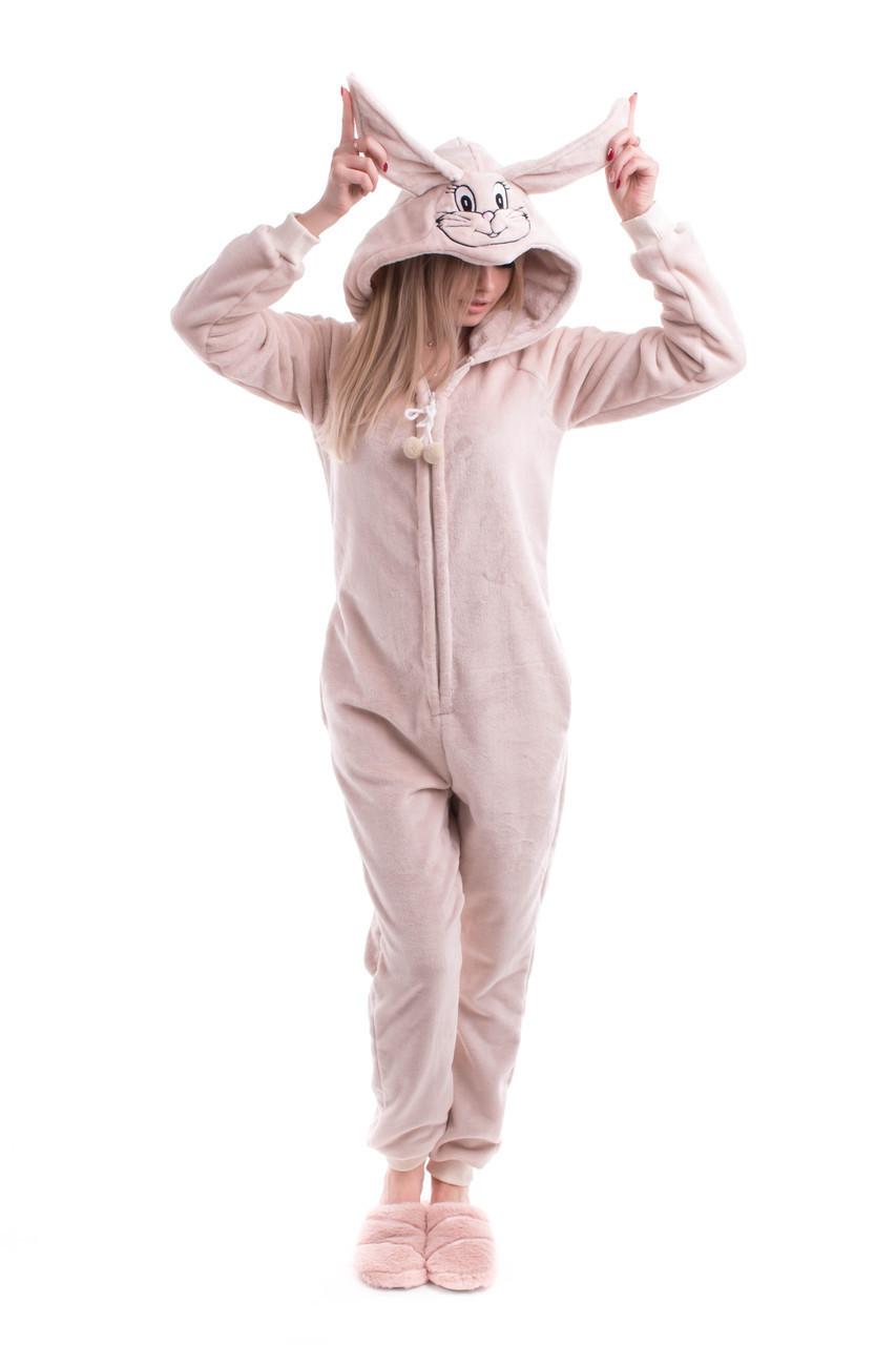 Домашний женский комбез махровый с ушками пижама